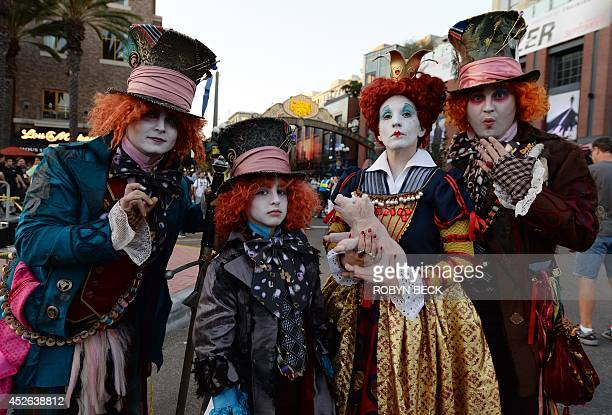 Costume designer and viral marketer Chad Evett and members of his family are dressed as the Mad Hatter outside the San Diego Convention Center on the...