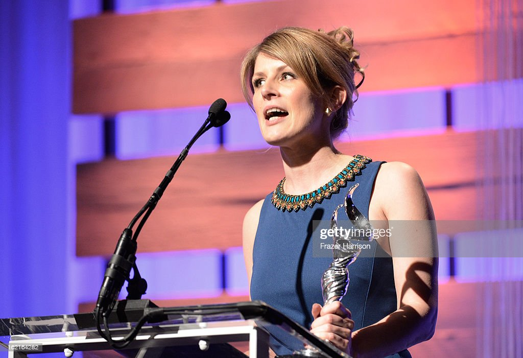 Costume designer Caroline McCall accepts the award for Outstanding Period/Fantasy Television Series onstage during the 15th Annual Costume Designers Guild Awards with presenting sponsor Lacoste at The Beverly Hilton Hotel on February 19, 2013 in Beverly Hills, California.