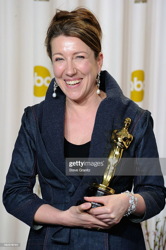 Costume designer Jacqueline Durran poses in the press room during the Oscars at the Loews Hollywood Hotel on February 24, 2013 in Hollywood, California.