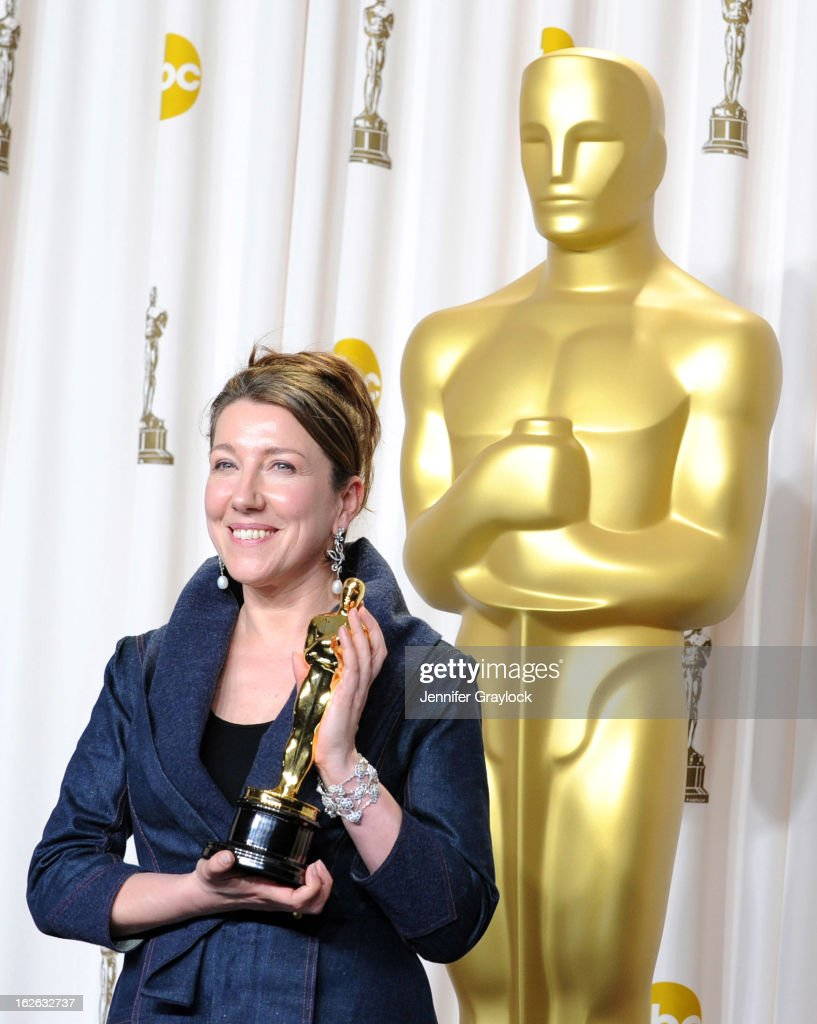 Costume designer Jacqueline Durran, winner of the Best Costume Design award for 'Anna Karenina,' in the press room during the 85th Annual Academy Awards at Loews Hollywood Hotel on February 24, 2013 in Hollywood, California.