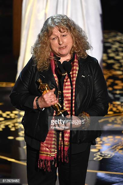 Costume designer Jenny Beavan accepts the Best Costume Design award for 'Mad Max Fury Road' onstage during the 88th Annual Academy Awards at the...