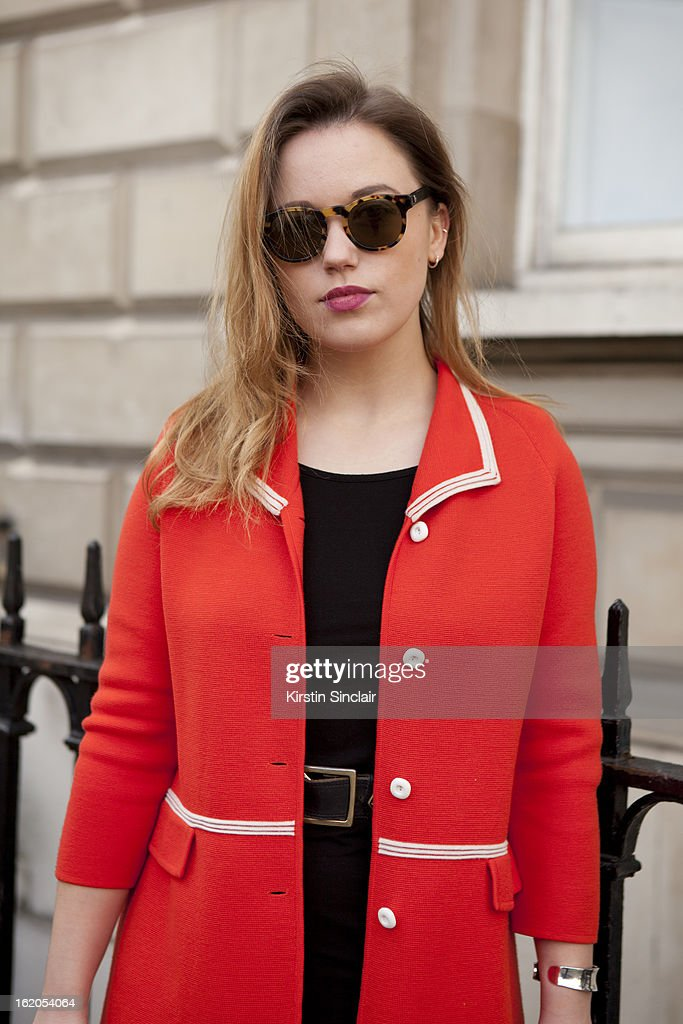 Costume Designer Olivia Hulme wears Pagani glasses and vintage jacket, on day 3 of London Womens Fashion Week Autumn/Winter 2013 on February 17, 2013 in London, England.