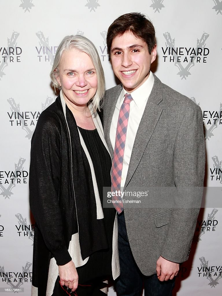 Costume designer Susan Hilferty and Gabriel Weissman attend the off Broadway opening night of 'The North Pool' at Vineyard Theatre on March 6, 2013 in New York City.