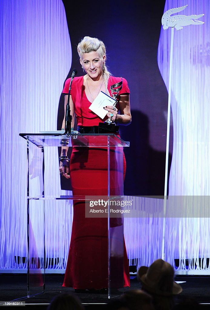 Costume designer Trish Summerville accepts the Excellence in Contemporary Film Award onstage during the 14th Annual Costume Designers Guild Awards With Presenting Sponsor Lacoste held at The Beverly Hilton hotel on February 21, 2012 in Beverly Hills, California.