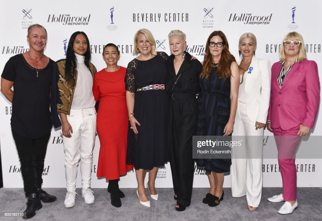 Costume designers Perry Meek, Zaldy Goco, Ane Crabtree, moderator Booth Moore, costume designers Lou Eyrich, Alix Friedberg, Trish Summerville, and Marie Schley attend Candidly Costumes at The Beverly Center on August 16, 2017 in Los Angeles, California.