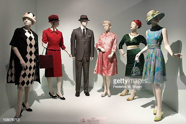 Costume designs for the television show 'Mad Men' on display during the Television Academy's Costume Design Nominee Reception at the Fashion...