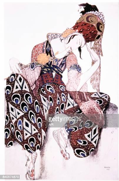 Costume d'Iskender dans le ballet 'La Péri' de Paul Dukas illustration réalisée par Léon Bakst pour le danseur Vaslav Nijinski