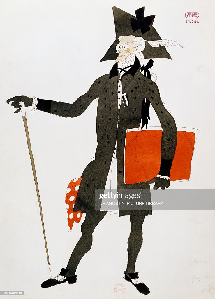 Costume for the character of the notary from The Barber of Seville by Gioacchino Rossini sketch by Charles Martin Paris Opera theatre 20th century...