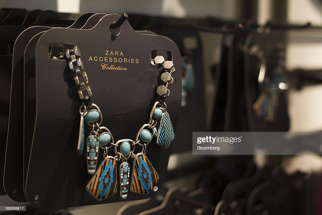 Costume jewelry is displayed as part of the Zara Accessories collection inside a Zara fashion store, operated by Inditex SA, in Madrid, Spain, on Tuesday, March 12, 2013. Europe's richest man, Amancio Ortega, the 76-year-old founder of Inditex SA, the world's biggest clothing retailer and owner of the Zara clothing chain, is No. 3 on Standard & Poor's 500 Index with a net worth of $57.4 billion, $4.9 billion ahead of Warren Buffett, 82. Photographer: Angel Navarrete/Bloomberg via Getty Images