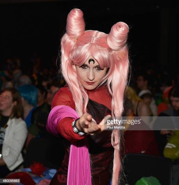 Costume Judge Haru Vamp attends the Masquerade Costume Contest at the Anime Boston 2014 Convention attended by more than 22000 fans at Hynes...