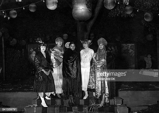 Costume party in BadenBaden Mrs Batschari Baroness Cannstein Ms Thea Brueckmann in fancy dresses no further information 1921Vintage property of...