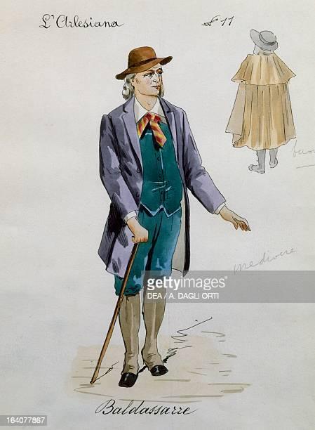 Costume sketch for Baldassarre in L'Arlesiana opera by Francesco Cilea