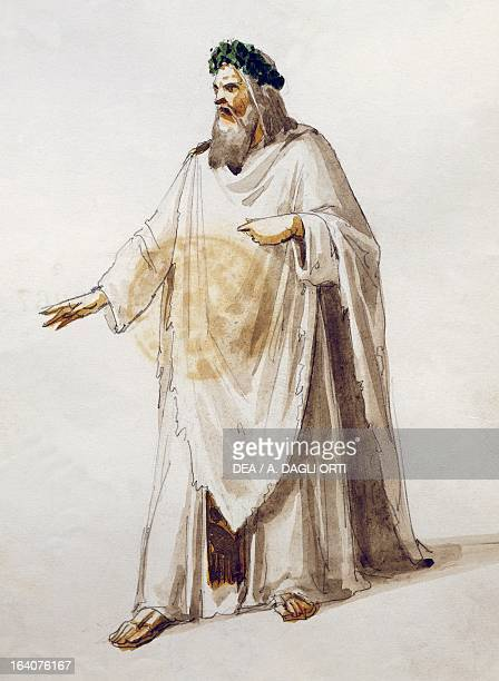 Costume sketch for the role of Oroveso in the opera Norma by Vincenzo Bellini performed at La Scala Theatre in Milan season 18561858 Watercolor Milan...