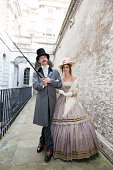 Costume Themed Victorian Couple Out For A Stroll