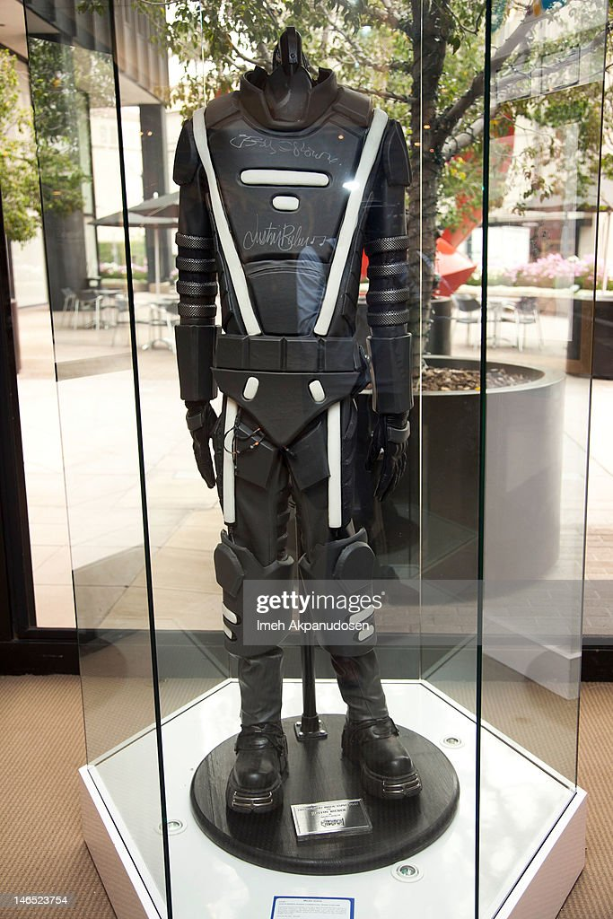 A costume worn by Justin Bieber in his 2011 Super Bowl XLV Best Buy commercial with Ozzy Osbourne signed by both Bieber and Osbourne on display during the Music Icons And Sports Legends Memorabilia Auction Press Call at Julien's Auctions Gallery on June 18, 2012 in Beverly Hills, California.