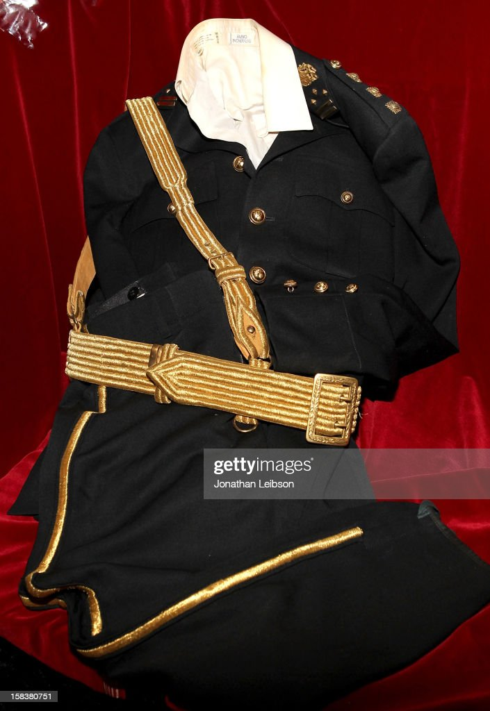 A costume worn by recording artist Michael Jackson during the 1986 American Music Awards is displayed at Nate D. Sanders Media Preview For Michael Jackson 1980's Iconic Stage-Worn Items on December 14, 2012 in Los Angeles, California.
