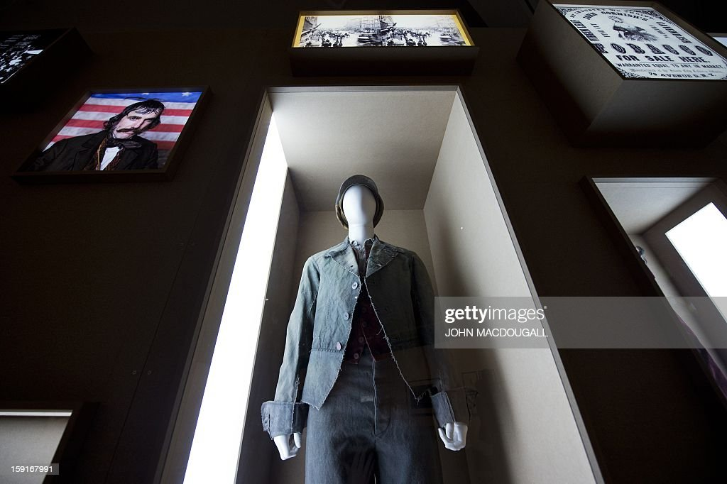 A costume worn by US actor Leonardo di Caprio in 'The Gangs of New York ' (2002) is on display at the Martin Scorsese exhibition at the Deutsche Kinemathek, Museum for Film and Television in Berlin, Germany on January 9, 2013. The museum opens from January 10 to May 12, 2013 what it calls the first exhibition worldwide dedicated to the work of veteran US film-maker Martin Scorsese, who made his vast archive available for the show. A
