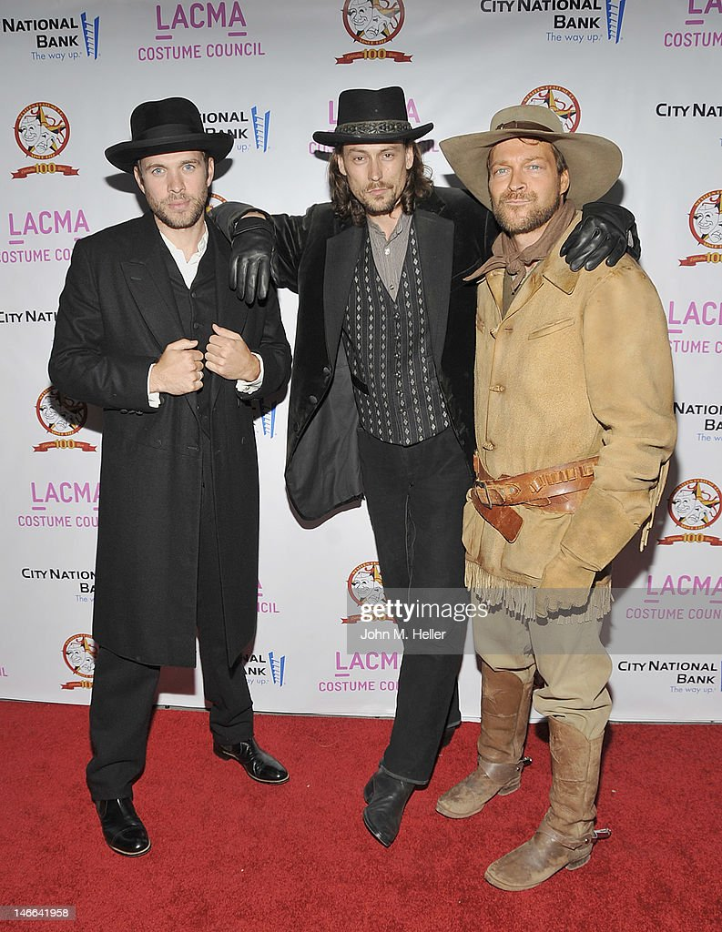 Costume worn in 'The Assassination of Jesse James ' movie, the Russell Crowe costume worn in the movie '3:10 to Yuma' and the costuem worn by <a gi-track='captionPersonalityLinkClicked' href=/galleries/search?phrase=Matt+Damon&family=editorial&specificpeople=202093 ng-click='$event.stopPropagation()'>Matt Damon</a> in the movie 'True Grit' at The Costume Council Of LACMA Celebrates The Western Costume Company: The First 100 Years at the Bing Theatre at LACMA on June 20, 2012 in Los Angeles, California.