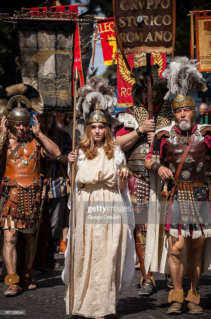 A costumed actress dressed as the Goddess Roma march in a commemorative parade during festivities marking the 2,766th anniversary of the founding of Rome on April 21, 2013 in Rome, Italy. The capital celebrates its founding annually based on the legendary foundation of the Birth of Rome. Actors dressed as the denizens of ancient Rome participate in parades and re-enactments of the ancient Roman Empire. According to legend, Rome had been founded by Romulus in 753 BC in an area surrounded by seven hills.