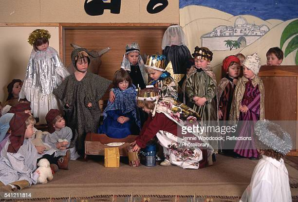 Costumed Children Performing a Nativity Play at School
