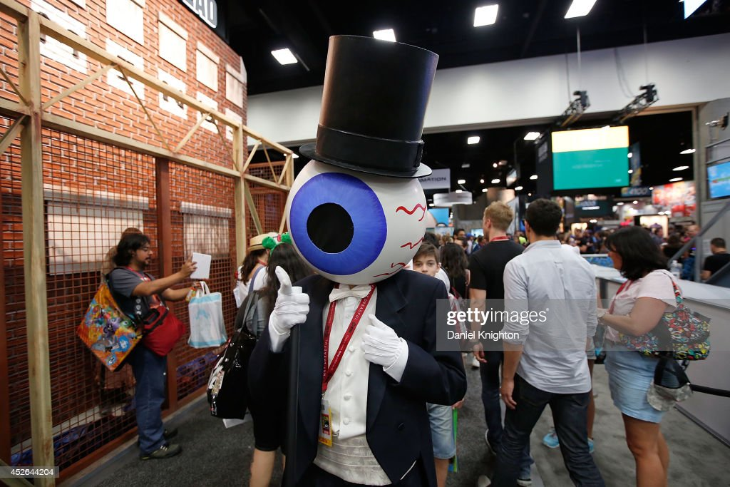 Costumed fan Andrew Knighton dresses as a character from the experimental rock band The Residents on July 24, 2014 in San Diego, California.