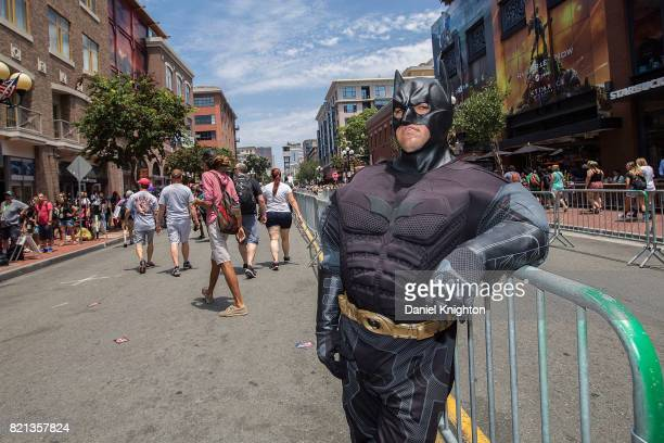 A costumed fan poses for photos outside the Convention Center on Day 4 of ComicCon International on July 23 2017 in San Diego California