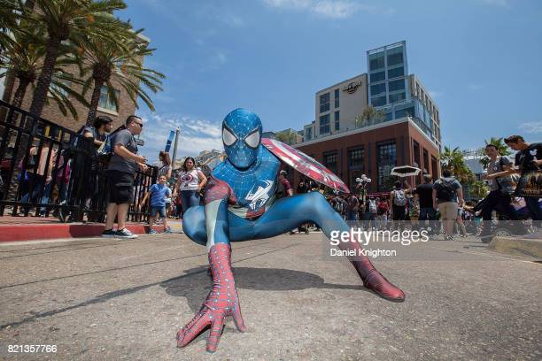 A costumed fan poses outside the Convention Center on Day 4 of ComicCon International on July 23 2017 in San Diego California
