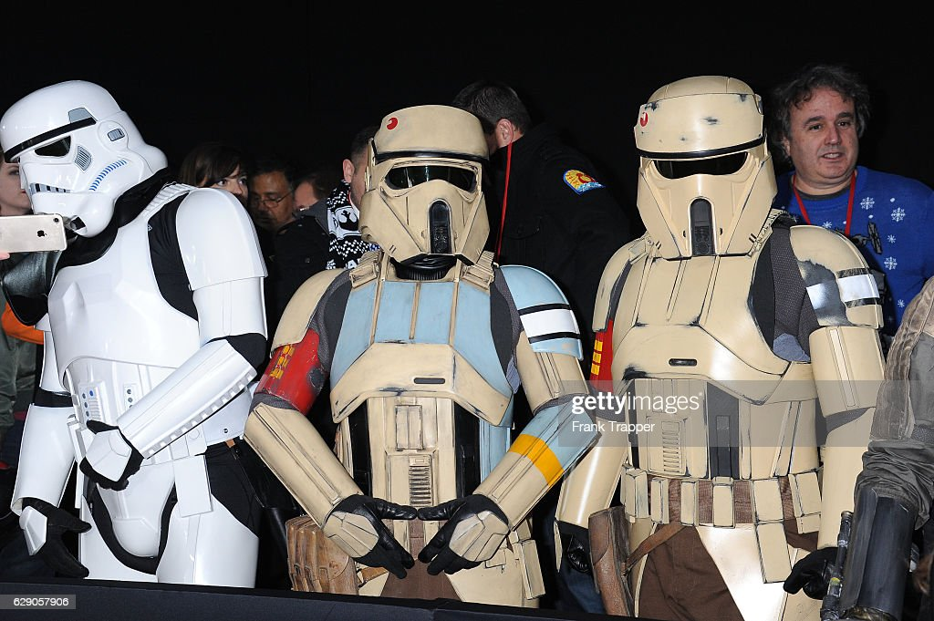 Costumed fans attend the premiere of Walt Disney Pictures and Lucasfilm's 'Rogue One: A Star Wars Story' at the Pantages Theatre on December 10, 2016 in Hollywood, California.