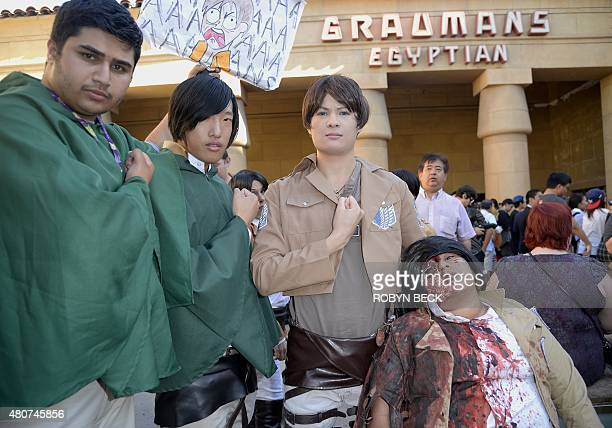 Costumed fans attends the world premiere of 'Attack On Titan' a live action feature film based on the Japanese dark fantasy manga series of the same...