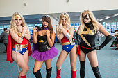 Costumed fans Marshalla Kahleck Lindsey Rummings Bethany Brzezinski and Litha Shoulders attend ComicCon International 2016 Day 2 on July 22 2016 in...