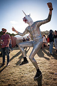 A costumed festival patron dances at Falls Festival on December 30 2013 in Lorne Australia