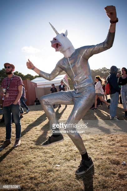 A costumed festival patron dances at Falls Festival on December 30 2013 in Lorne Australia