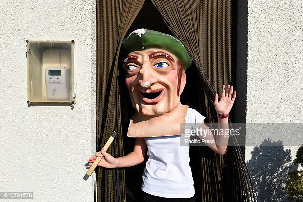 A costumed figure 'Cabezudo' pictured during the 'La Virgen de la Carrera'' festival in 'Mature de Almazán' north of Spain