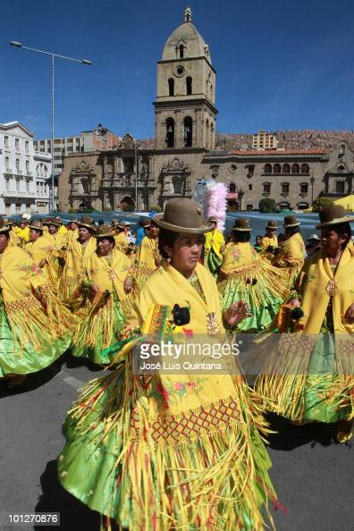 Costumed participants dance during the religious festival of Jesus del Gran Poder on May 29 2010 in La Paz Bolivia About thirty thousand people...