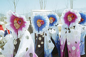 Costumed performers at an opening ceremony rehearsal for the 1998 Winter Olympic games