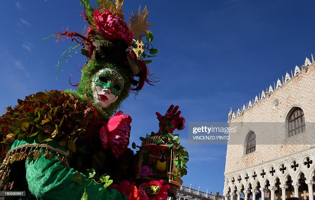 A costumed reveller poses at St Mark's square during the carnival on February 3, 2013 in Venice. The 2013 edition of the Venice carnival is untitled ' Live in Colour' and runs from January 26 to February 12. AFP PHOTO / VINCENZO PINTO