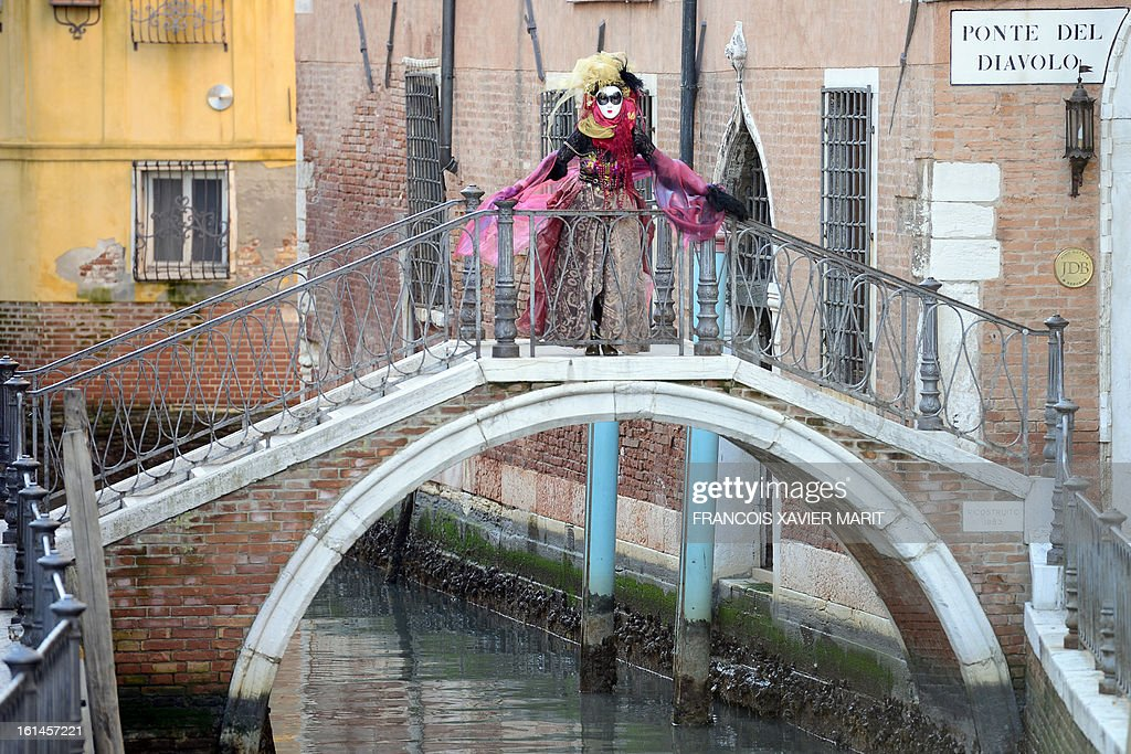 A costumed reveller stands on the 'devil's bridge' during the carnival on February 8, 2013 in Venice. The 2013 edition of the Venice carnival is untitled ' Live in Colour' and runs from January 26 to February 12.
