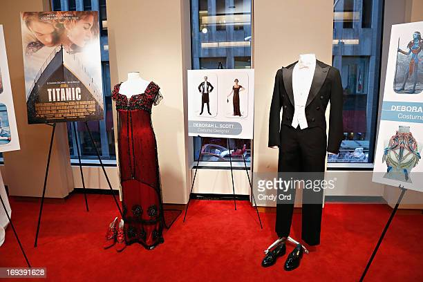 Costumes from the movie 'Titanic' designed by Deborah Scott for actress Kate Winslet and actor Leonardo DiCaprio displayed at the 2013 NYWIFT...