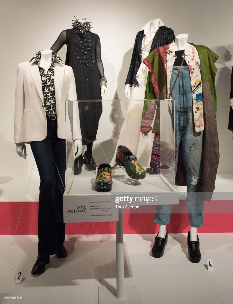 Costumes from the show 'Grace and Frankie' on display at the media preview of the 11th annual 'Art Of Television Costume Design' exhibition at FIDM Museum & Galleries on the Park on August 19, 2017 in Los Angeles, California.