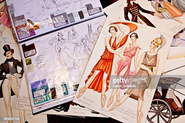 Costumes sketches created by the French designer KAPLAN for the ballet production Lost Illusions displayed March 31 2011 in the costume workshop in...
