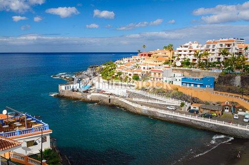 Cosy resort town puerto de santiago tenerife stock photo thinkstock - Puerto santiago tenerife mapa ...