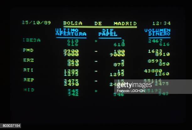Cotation sur un écran d'ordinateur à la Bourse en novembre 1989 à Madrid Espagne