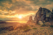 Cote de Granite Rose in Bretagne at sunset