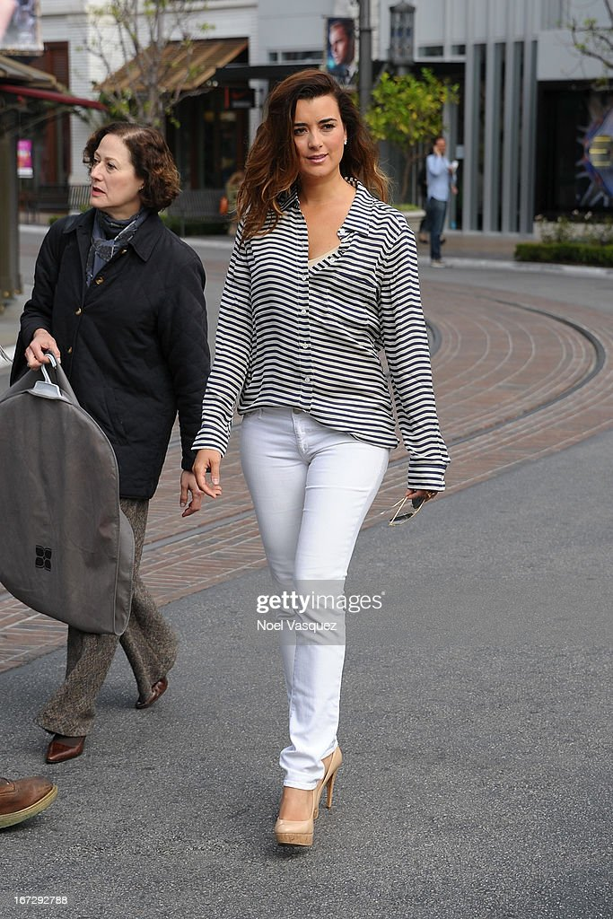 Cote De Pablo is sighted at The Grove on April 23, 2013 in Los Angeles, California.