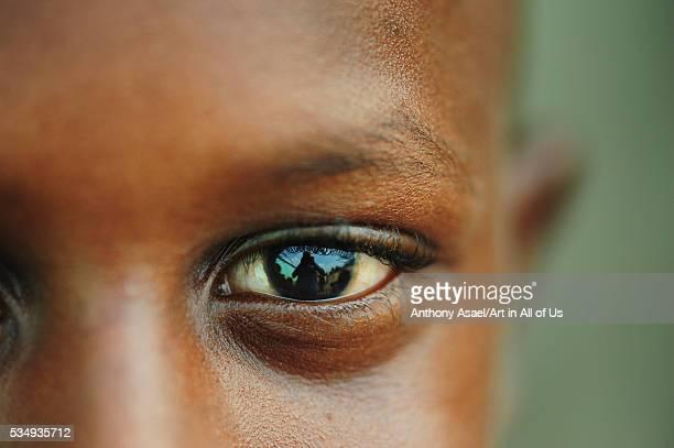 Cote d'Ivoire Abidjan close upo portrait of eyes of boy