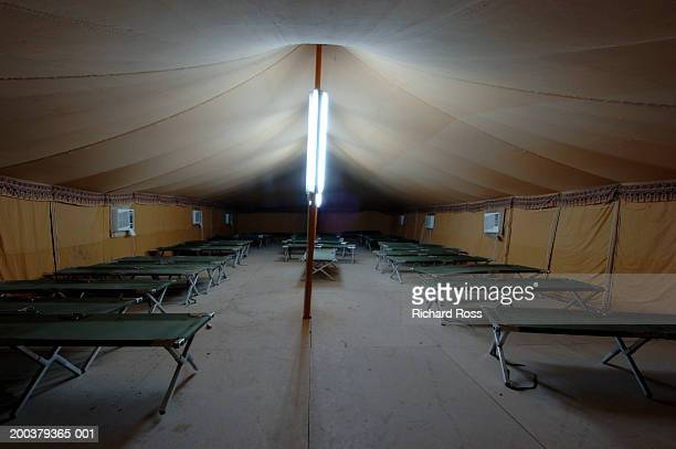 Cots inside military tent, Iraq