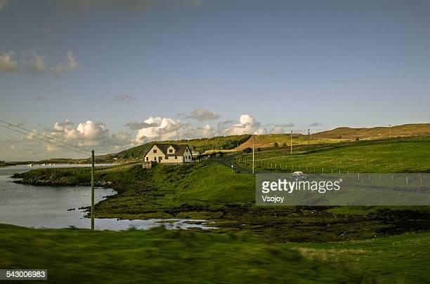 Cottage and Classic Mini Car, Portree, Skye