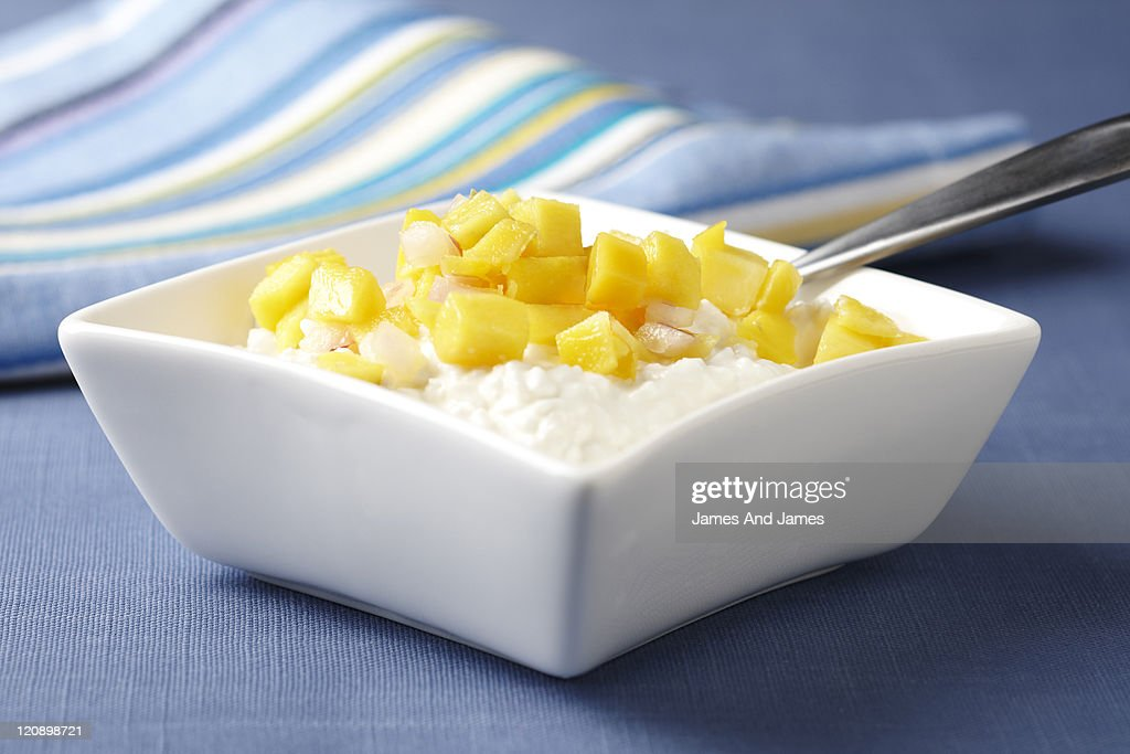 Cottage Cheese With Mango : Stock Photo