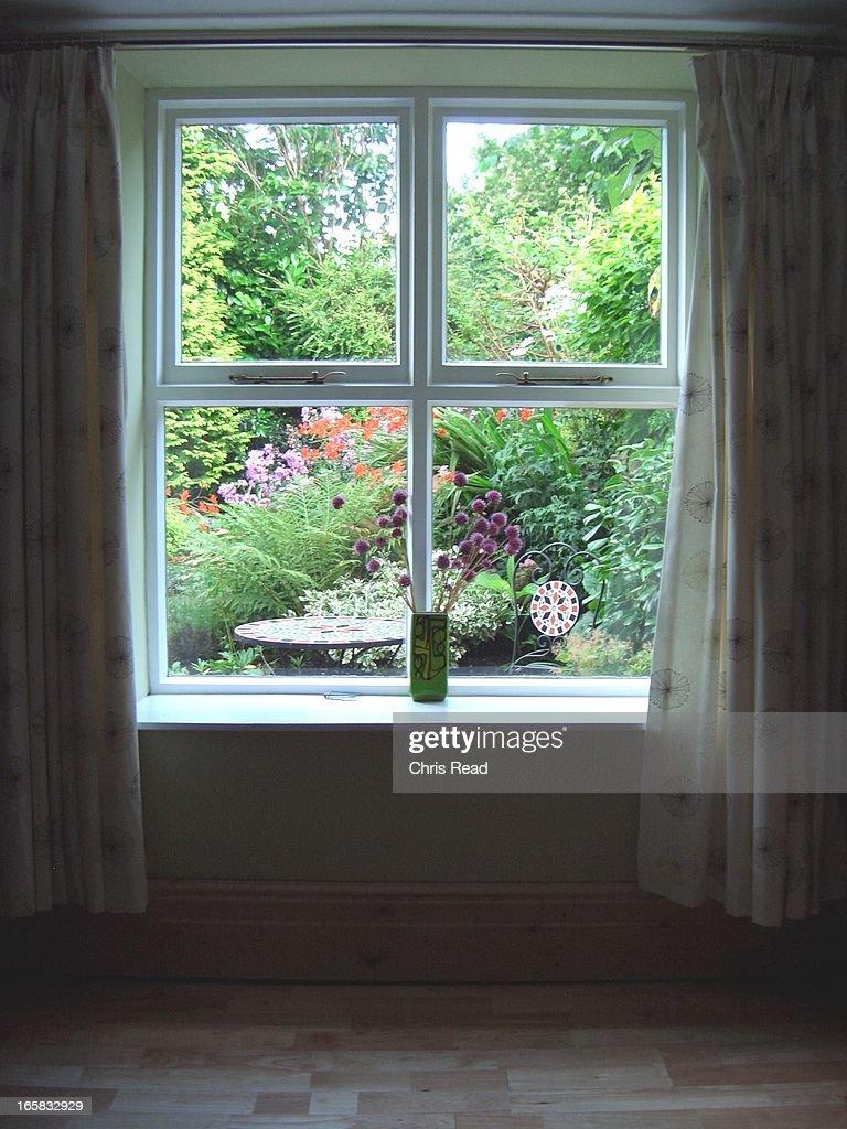 Cottage Garden Window View : Stock Photo