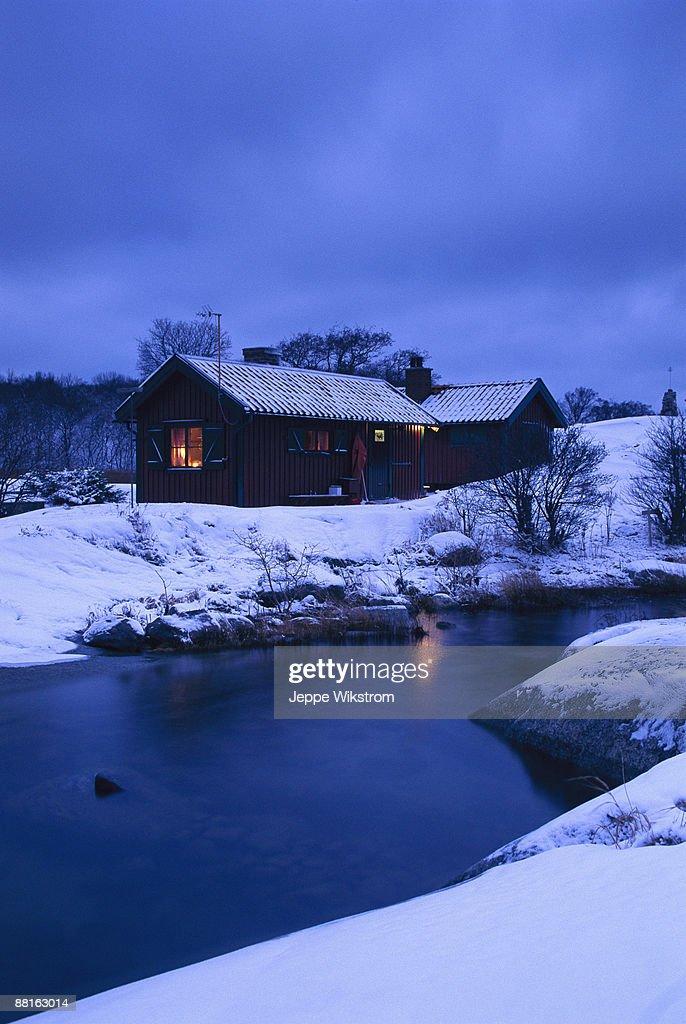 A cottage on an island in winter Angskar Stockholm archipelago Sweden.